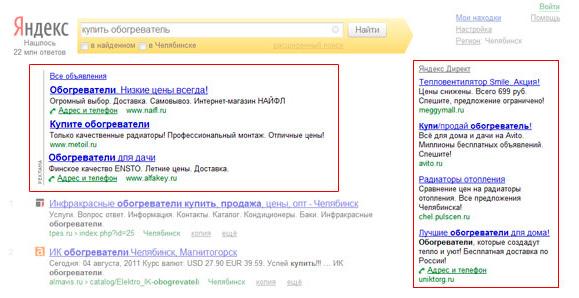 Объявления на поиске Яндекса