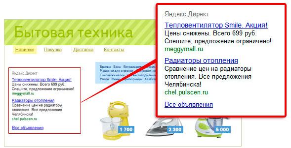 Объявления в рекламной сети Яндекс